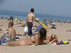 2 Girls Naked at the Beach Blond and Brown by snahbrandy