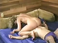 Strong woman submit weak man