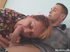 Old bag lures her son in law into sex while his wife away