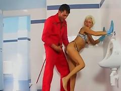 Mature sex in toilet