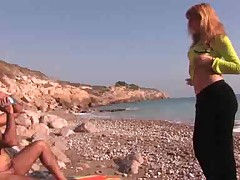 Amateur couple fuck on a rocky beach