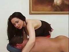 Hot brunette handjob after massage
