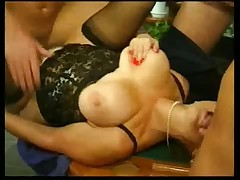 Busty german whore gets ganged 2