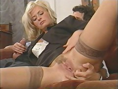 Hot italian milf enjoys double insight by three guys