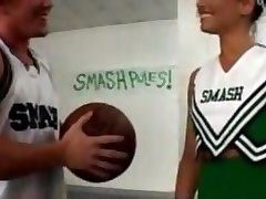 Basketbal Players Gang Banging The Lead Cheerleader