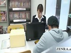 Japanese Sextoy Saleswoman Gives Under Table Footjob