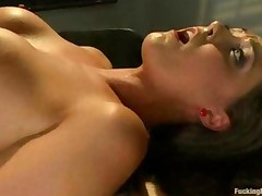 Busty Babe Fucked By Fucking Machine On A Table