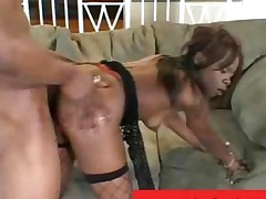 Sexy Black Chick Ashley Brooks Wears Her Slutty Fishnet
