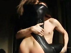 Hot Babe Ass Fuck In Tight Leather Suit