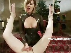Perverted Lady With Sexy Tits And Outfitted In Leather Whipping..