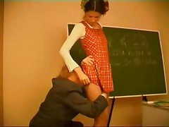 Old Math Teacher Punishes Lame Schoolgirl