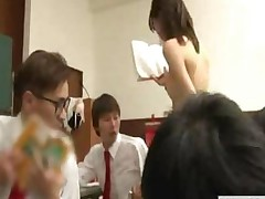 Japanese Teacher Reluctantly Teaches Class In The Nude