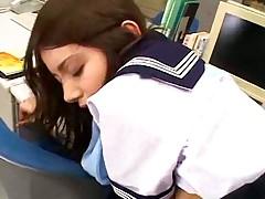 Japanese schoolgirl has hot office sex