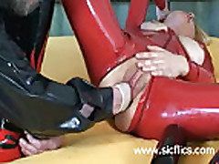 Fucking a huge wine bottle and fisted in her loose vagi