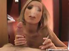Smoking Fetish - A beautiful wife is sucking her husban