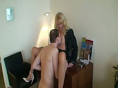 Young man gets to fuck the sexy blonde milf