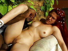 Sexy redhead takes a load after good fuck