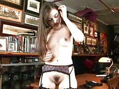 Sexy chick in lingerie masturbates