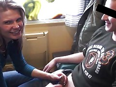 German girl likes quickie on the train