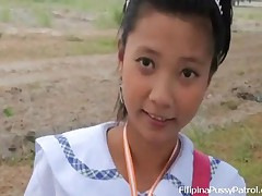 Sally Vs John - Real Life Asian Schoolgirl Fucked And Facialized Outdoors