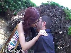 Watch This Sexy Young Brunette Secretly Meet Her Boyfriend And Fuck Him Outdoors