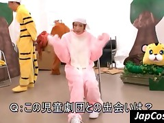 Smiling Japanese Cutie Playing In Her Bear Costume