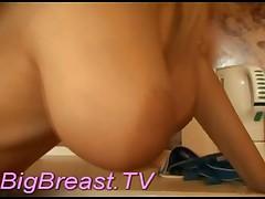 Horny Blonde In Sexy Panties Rubs A Dildo Between Her Big Tits!