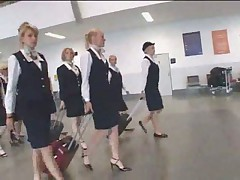 Busty stewardess public handjob in the bus snake