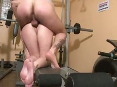 French Slut fuck in gym