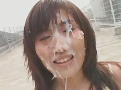 Japanese chick outdoor facial