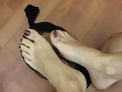 Man slave licks feet!