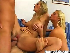 Two sexy babes get rammed and swallow jizz