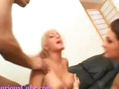 Two hot sluts get cum all over their tits