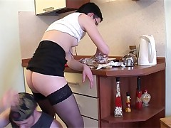 Short Haired Quickie Fuck In Kitchen