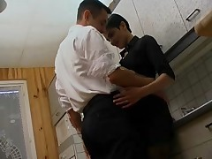 Uncle and his nice in a horny mood in the kitchen