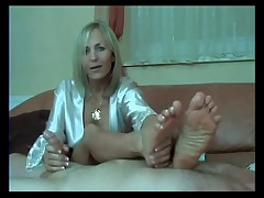 Gorgeous Mature Handjob Footjob
