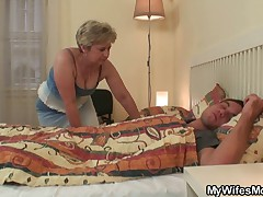 Nasty granny gives enthusiast and rides her son in law bushwa
