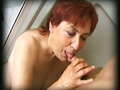 Hairy granny finds a man in her shower